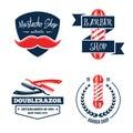 Barbershop logo vintage isolated set vector illustration. Hairdresser symbols. Beard badge. Barbershop label collection.