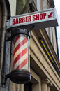Barbershop sign complete famous red white revolving pole insignia Stock Images