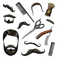 Barbershop tools icon set. man or hipster fashion. hair and beard and mustache, brush and razor for shaving. engraved