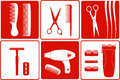 Barbershop tools on white and red backgrounds set silhouette Royalty Free Stock Images