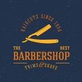 Barbershop Vector Vintage Label or Logo Template Royalty Free Stock Photo