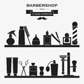Barbershop vintage symbols set vector of all magor tools and accessories in one Royalty Free Stock Images