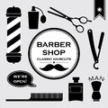 Barbershop vintage symbols in set vector of and tools Stock Photo