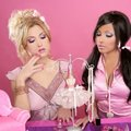 Barbie doll girls pink vanity table Stock Photography