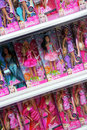 Barbie dolls for sale on shelves in a supermarket in portugal photo taken Stock Images