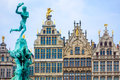 Barbo fountain and guild houses at Grote Markt in Antwerp, Belgium Royalty Free Stock Photo