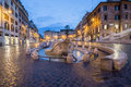 Barcaccia fountain in Piazza di Spagna by night, Rome Royalty Free Stock Photo