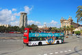 Barcelona bus touristic routes with ticket open top double decker audioguide in languages event october in spain Stock Image