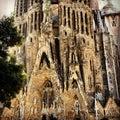 Barcelona church daytime sagrada familia Stock Photography
