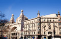 Barcelona city buildings Gran Via and Rambla Stock Images