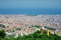 Barcelona city panoramic view hills under sky Royalty Free Stock Photos