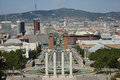 Barcelona city view from National Palace Stock Photos