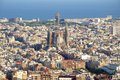 Barcelona cityscape view of the construction sagrada familia and over the sea of houses in with approx million inhabitants is the Royalty Free Stock Photography