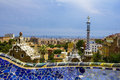 Barcelona cityscape with wall from park güell Royalty Free Stock Photos