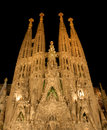 Barcelona familianatt sagrada spain Arkivbild