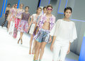 Barcelona fashion custo barcelona catwalk the spanish brand presented its new spring summer collection during the third day of in Royalty Free Stock Photography