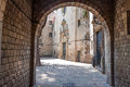 Barcelona gothic quarter corner with arch Stock Image