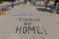 Barcelona.Graffiti protest on the road. Royalty Free Stock Photo