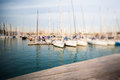 Barcelona harbor view with tilt shift effect direct from camera Royalty Free Stock Image