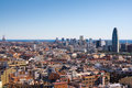 Barcelona landscape view from sagrada familia tower Stock Photos