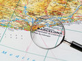 Barcelona on a map Royalty Free Stock Photos