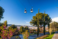 Barcelona montjuic cable car modern funicular transporting tourists to Royalty Free Stock Image