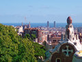 Barcelona panoramic view from parc guell spain Royalty Free Stock Photos