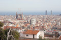 Barcelona from park guel a picture of in the backgropund is sagrada familia church Stock Images