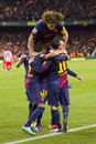 Barcelona players celebrating a goal Royalty Free Stock Photography