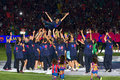 Barcelona players celebration Stock Images
