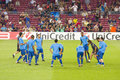 Barcelona players warm-up Royalty Free Stock Image