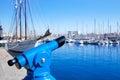 Barcelona port marina with blue telescope Royalty Free Stock Photo
