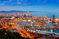 Barcelona with Port in night time. Catalonia Royalty Free Stock Photo