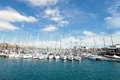 Barcelona port yachts on the sea and sky backgroung white in de vel of catalonia Royalty Free Stock Images