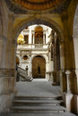 Barcelona s town hall barcelona spain archway and courtyard of casa de la ciutat ajuntament is located at old ciutat Royalty Free Stock Image
