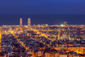 Barcelona skyline panorama at night during blue hour Royalty Free Stock Photos