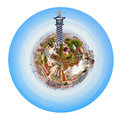Barcelona skyline from park guell little planet spherical panoramic spain isolated on white background Royalty Free Stock Images