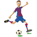 Barcelona soccer player illustration of who hits the ball Stock Photos