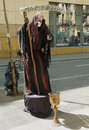 Barcelona spain april unidentified street actor poses for tourists as a death with scythe on april in barcelona million visitors Stock Photos