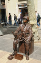 Barcelona spain april unidentified street actor poses for tourists as a soldier in vintage uniform on april in barcelona million Royalty Free Stock Images