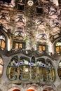 Barcelona, Spain. Casa Batllo of Antoni Gaudi. Fragment of famou