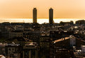 Barcelona spain downtown sunset from park guell Royalty Free Stock Images