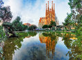 BARCELONA, SPAIN - FEB 10: View of the Sagrada Familia Royalty Free Stock Photo
