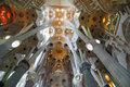 Barcelona, Spain - interior of cathedral Sagrada Familia, one of the city landmarks, designed by the architect Gaudi Royalty Free Stock Photo