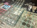Barcelona, Spain, March 2016:trade of antique and old coins on local numismatic  flea market Royalty Free Stock Photo