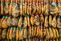 Barcelona, Spain - October 19, 2019: Jamon, spanish cured ham at grocery market