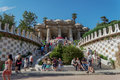 Barcelona, Spain - 24 September 2016: Park Guell stairway to the Hypostyle Room. Royalty Free Stock Photo