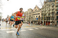 Barcelona street busy athletes running barcelona marathon barcelona march barcelona spain Royalty Free Stock Image