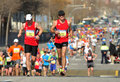 Barcelona street crowded of athletes running Royalty Free Stock Photos