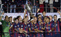 Barcelona wins champions league final players pictured during the award ceremony held after the uefa between juventus torino from Royalty Free Stock Photo